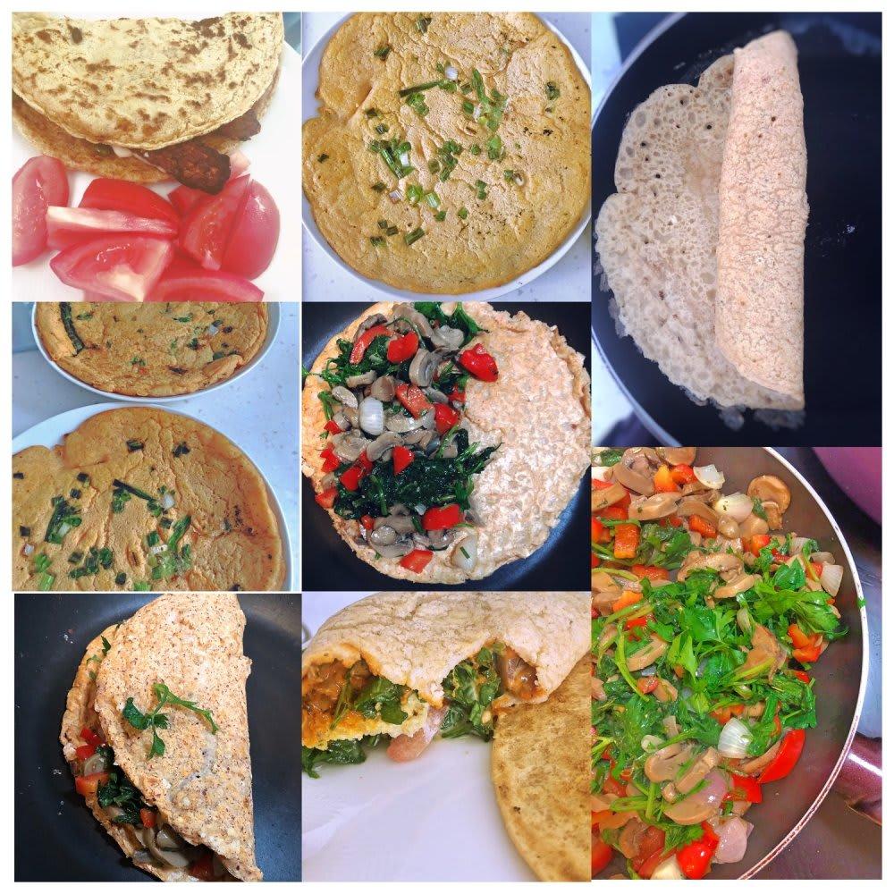 Vegan one-ingredient omelette wrap