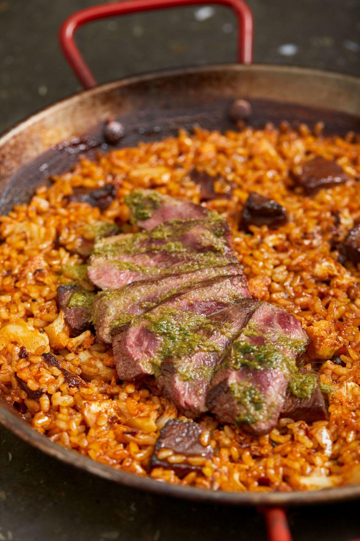 Paella with roasted garlic aioli and presa Duroc