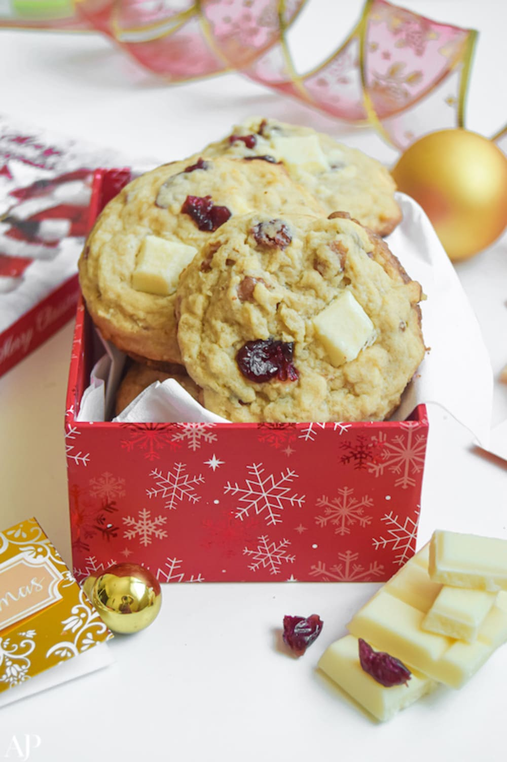 White chocolate & cranberry oat cookies