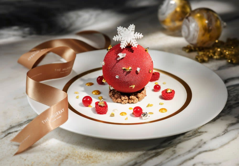 Christmas winter berries and mascarpone cheese sphere at The Tai Pan Hong at The Murray, Hong Kong