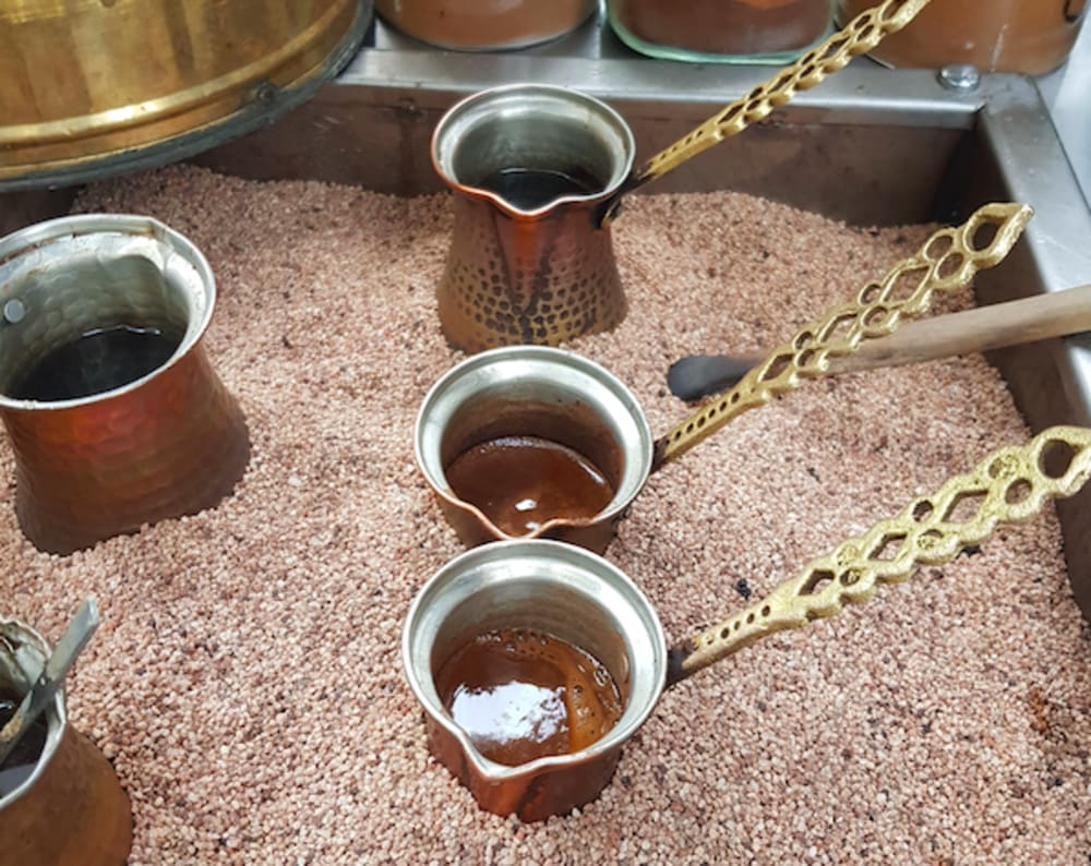 Traditional sand coffee at Nest Cafe Istanbul