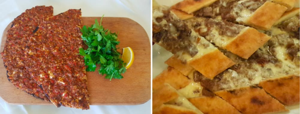 Image title  Lahmacun at Hamdi Restaurant (left); meat pide at Cosy Pub Cafe & Restaurant (right) Istanbul