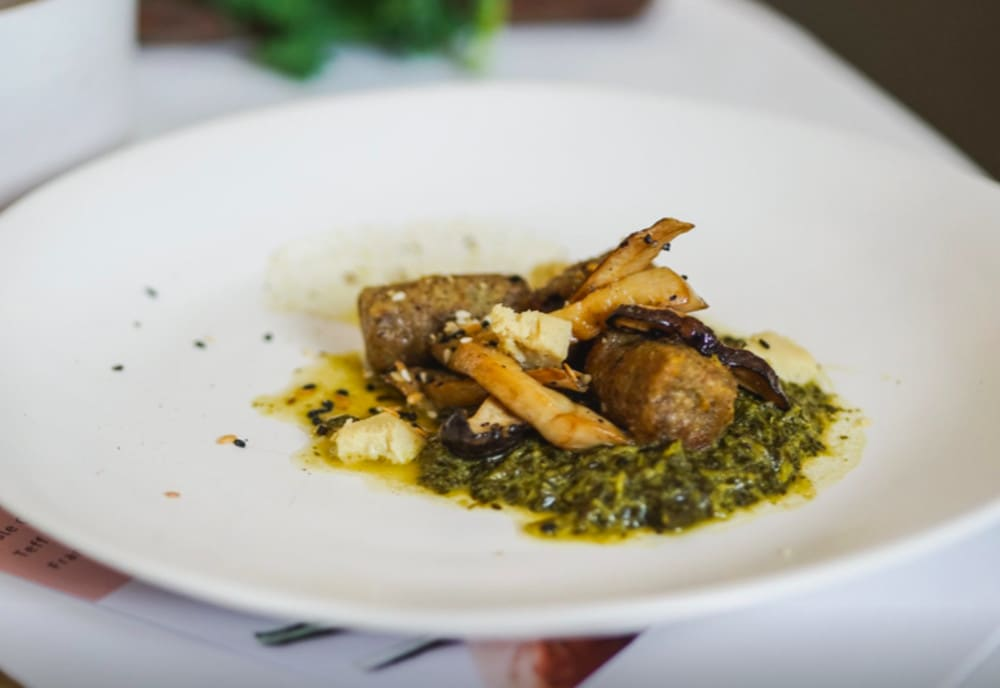 Teff gnocchi with creamed kale pesto