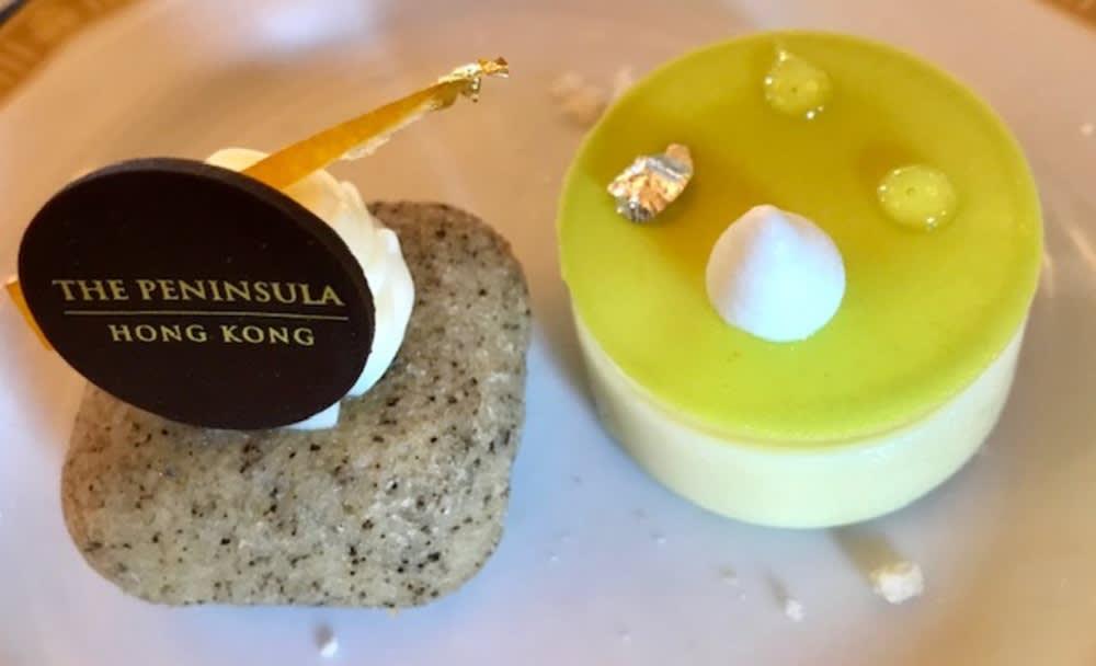Little cake and little citrus dessert at The Peninsula Hong Kong