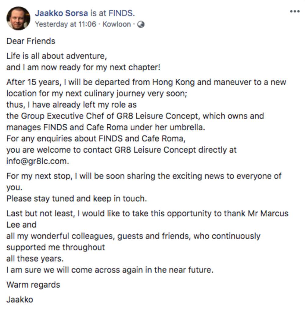 Jaakko Sorsa's Facebook statement