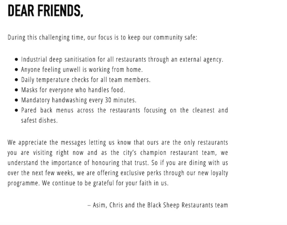 Black Sheep Restaurants' recent statements to diners