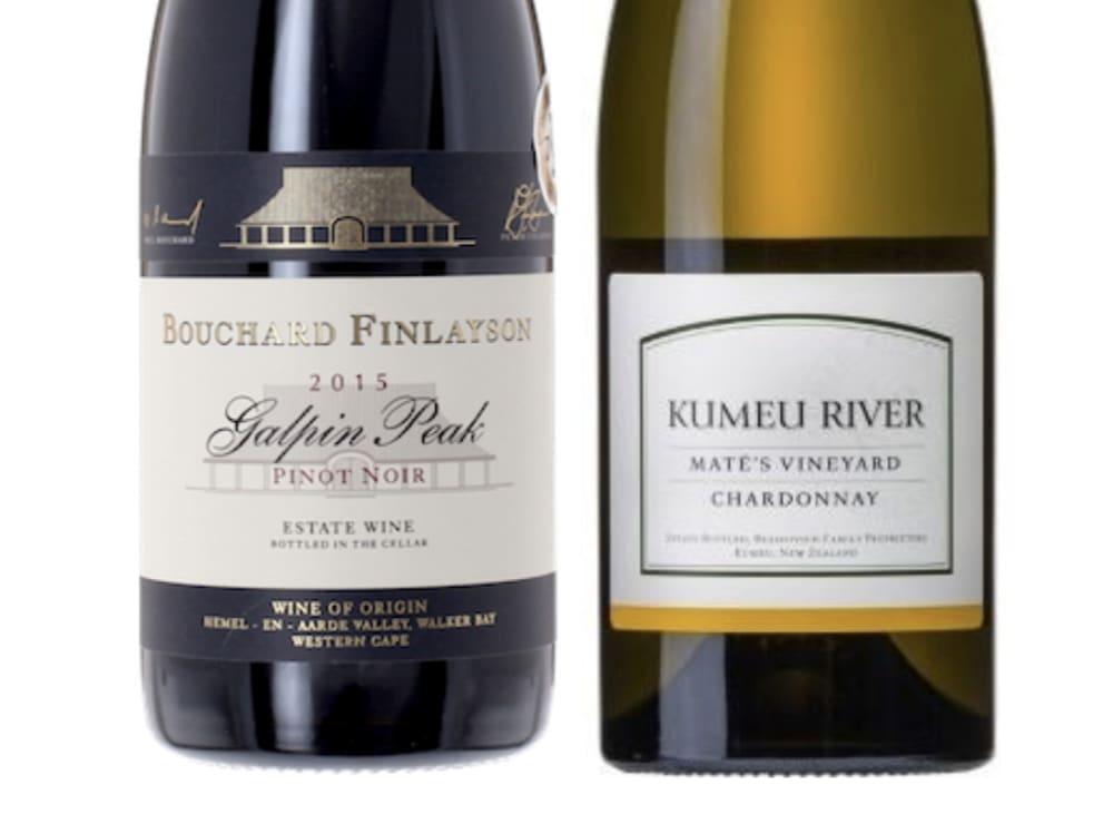 Bouchard Finlayson Galpin Peak Pinot Noir from South Africa and Kumeu River Maté's Vineyard Chardonnay from New Zealand,