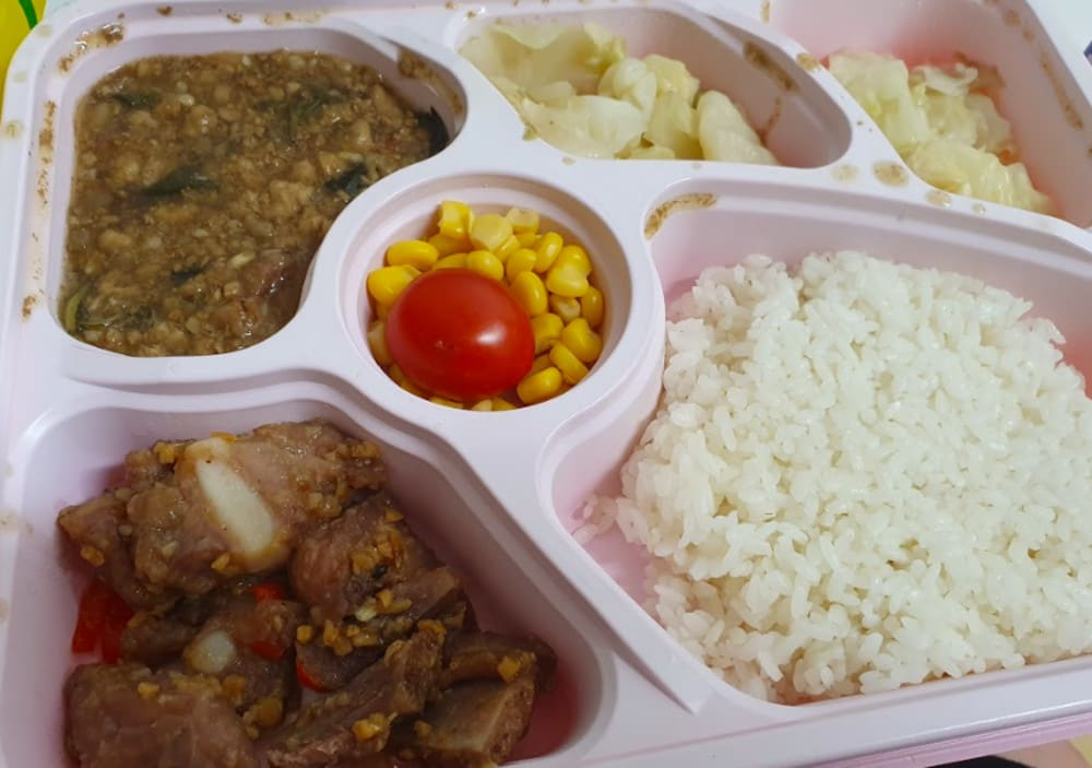 Minced pork with basil and dried turnip with garlic pork ribs, rice and assorted vegetables