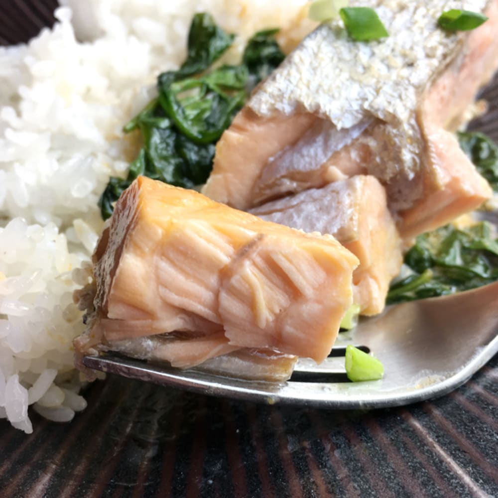 Seared salmon coconut curry