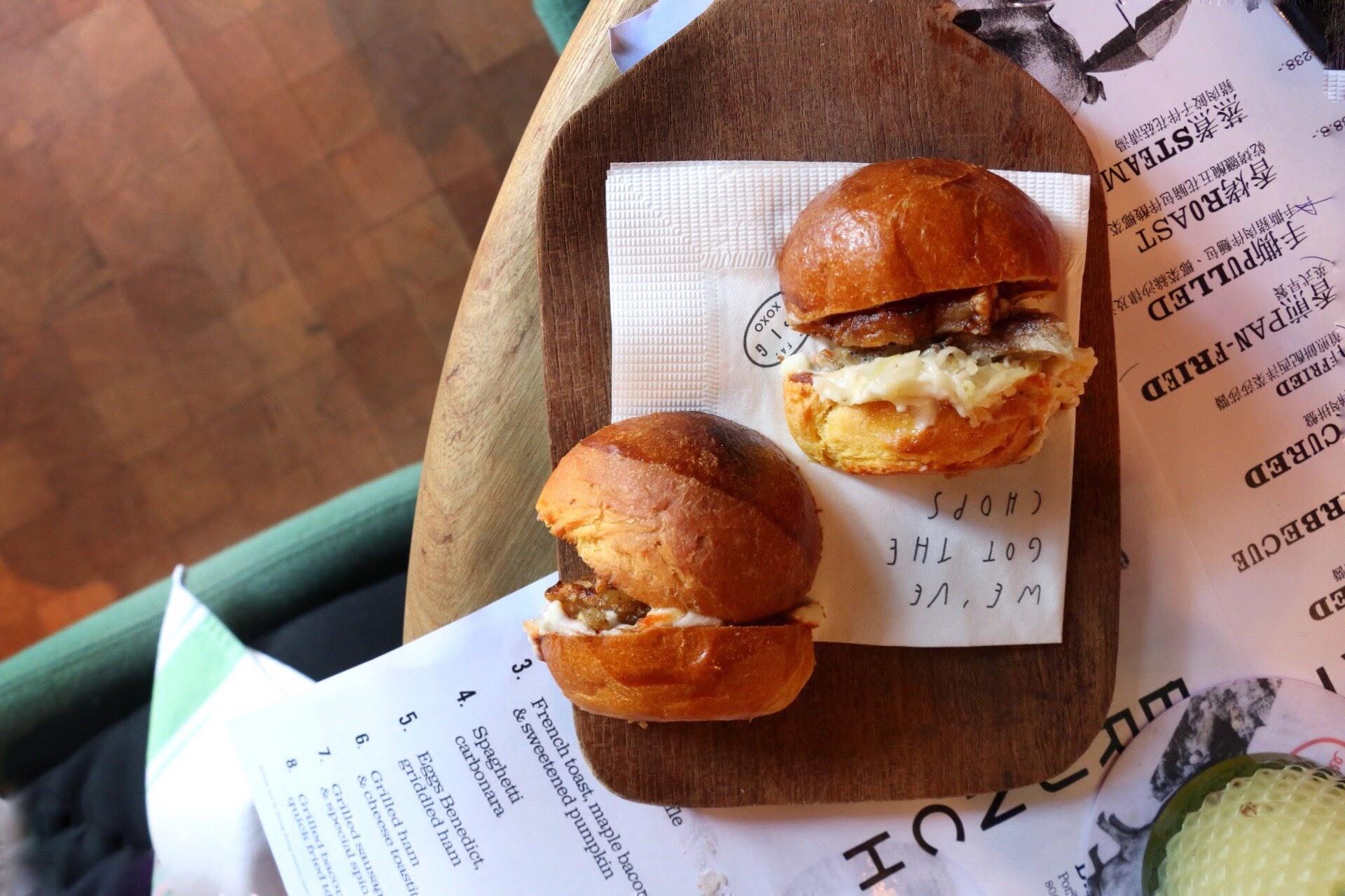脂肪猪,盐渍&干烤猪肚奶油蛋卷小圆面包