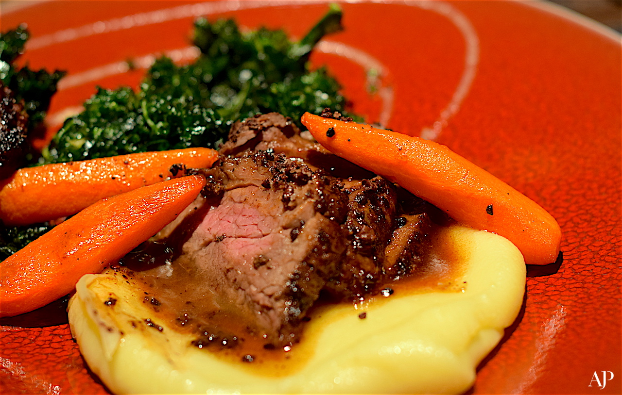 Cocoa nib crusted Tenderloin with White Chocolate mashed Potato