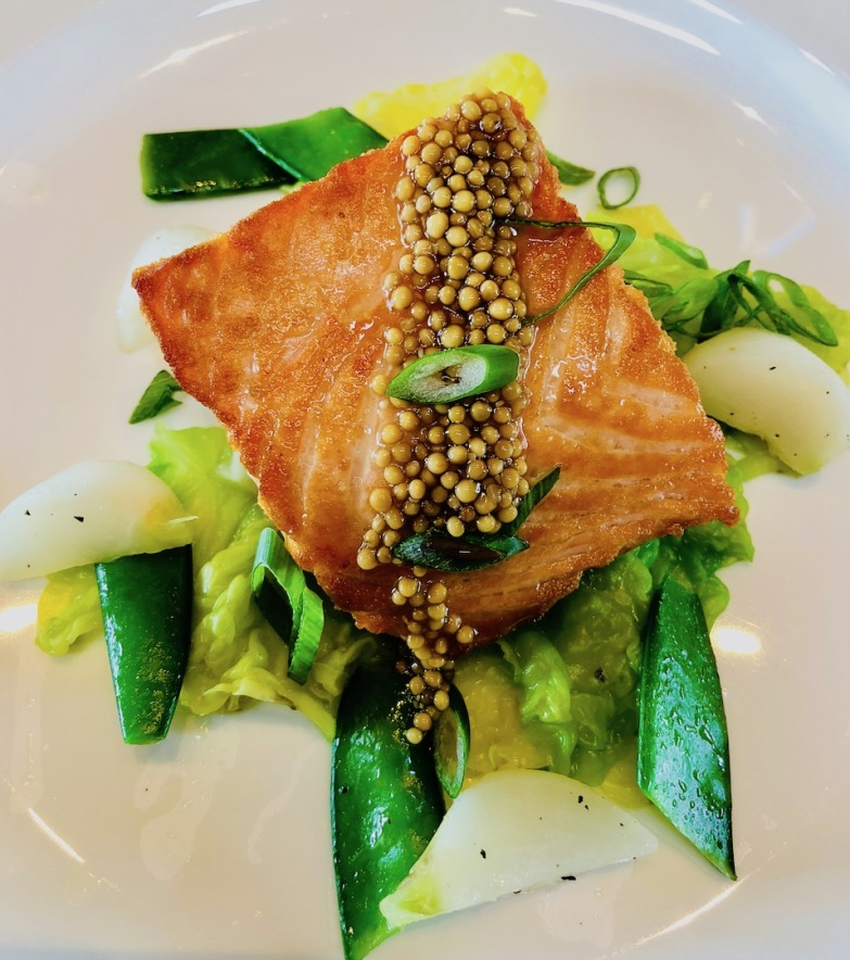 Salmon with Pickled Mustard Seed, Cakebread Cellars