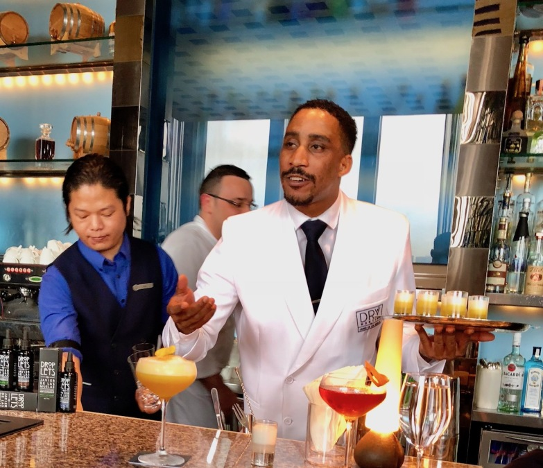 Dry Martini bartender Nelson Alexandre Dos Anjos Semedo introducing the Pedro Ximinez