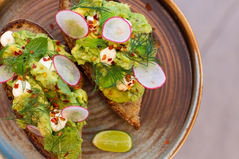 Avocado toast with mint and chilli