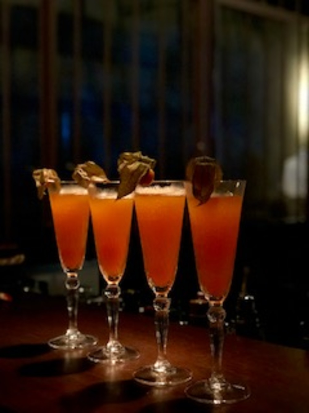 A row of Chinese Lantern cocktails