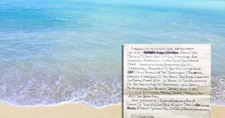 Handwritten testimonial about addiction treatment in Hawaii