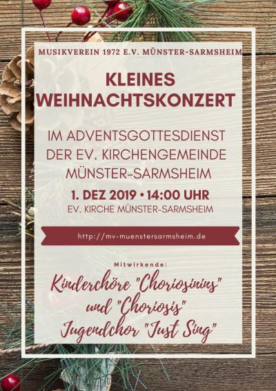 Kleines Weihnachtskonzert im Adventsgottesdienst der ev. Kirchengemeinde Münster-Sarmsheim