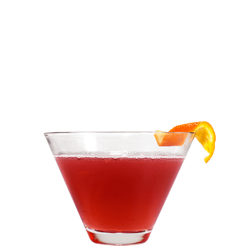 Gentleman's Cranberry Martini Cocktail served with orange peel