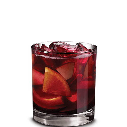Apple Sangria Cocktail served with fresh fruit