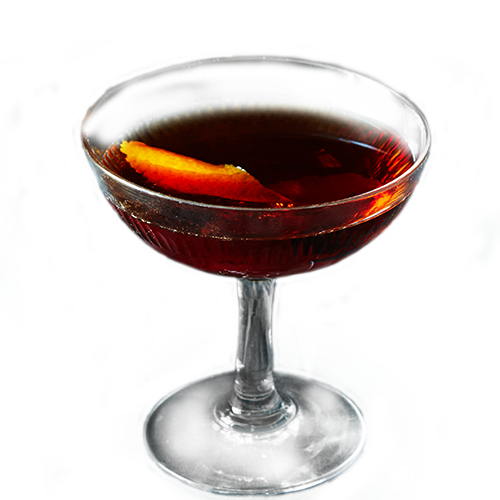 Boulevardier Cocktail served with orange peel