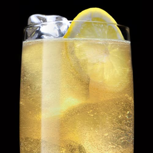 Jack Rye Highball Cocktail served with lemon wheel
