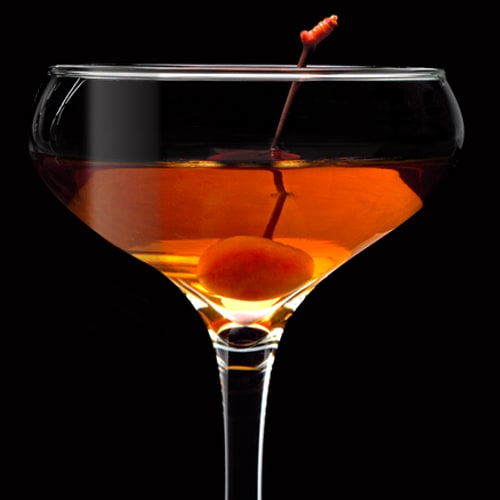 Jack Manhattan Cocktail served with cherry