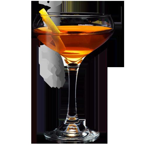 Tennessee Rye Manhattan Cocktail served with lemon peel