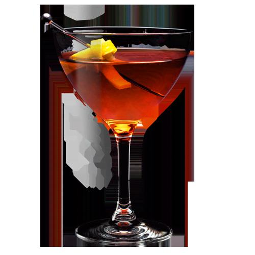 Old Pal Boulevardier Cocktail served with lemon peel