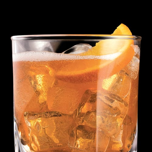 Jack Rye & LLB Cocktail served with orange slice
