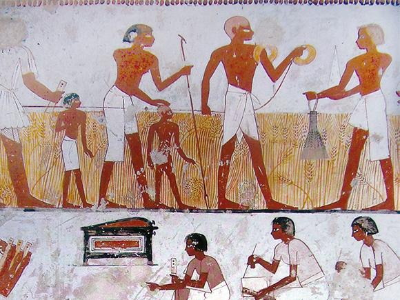Wandschildering in het graf van Menena, Thebe-West, ca. 1390 v. Chr_groot