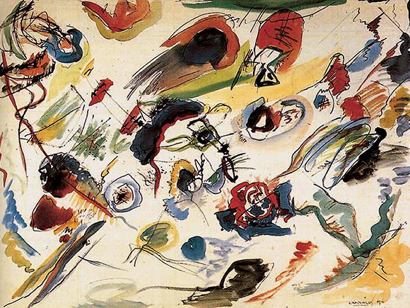 Wassily Kandinsky, Kompositie (Das erste abstrakte Aquarell), Parijs, privécollectie, 1910_groot