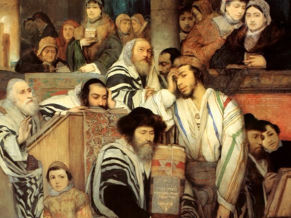 Maurycy Gottlieb, Joods gebed tijdens Yom Kippur, 1878, Tel Aviv Museum of Art_groot