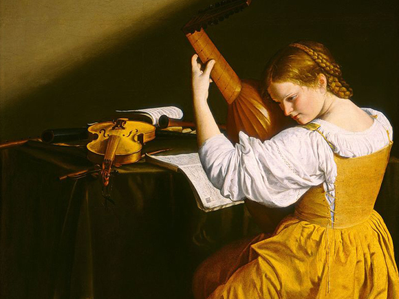 Orazio Gentileschi, De luitspeelster, ca. 1612-1620, National Gallery of Art, Washington_groot