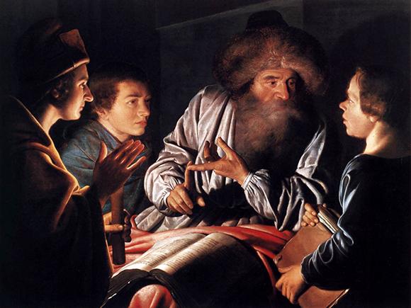 Willem van der Vliet, Filosoof en leerlingen (detail) 1626, Brodie Castle_groot