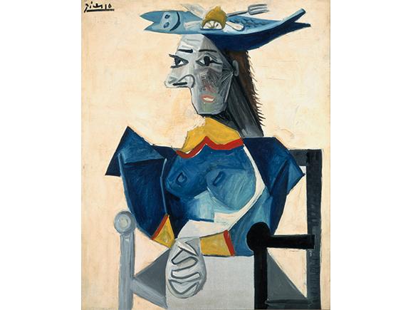 Pablo Picasso, Zittende vrouw met vishoed, 1942. c/o Pictoright Amsterdam/Stedelijk Museum Amsterdam