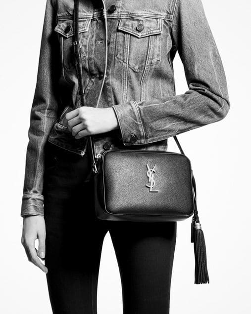 Saint Laurent Lou Camera Bag In Smooth Leather Black Silver