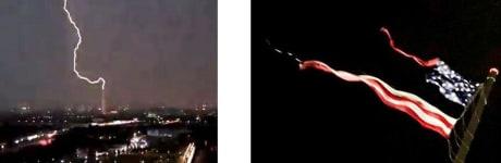 lightning strike and torn flag image