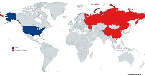 world map showing usa, russia china