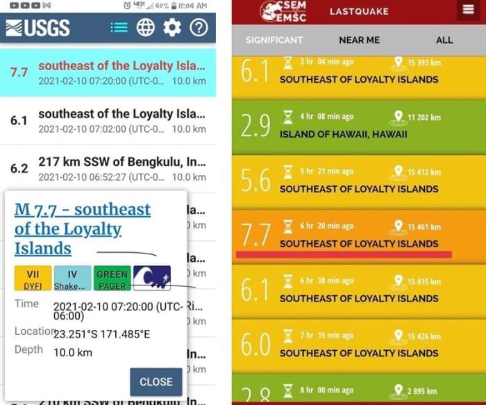 Screencaptures of earthquake data