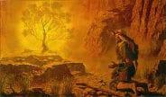 Moses at burning bush image