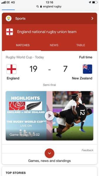 Rugby Result News Headline