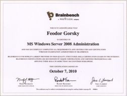 MS Windows server 2008 administration