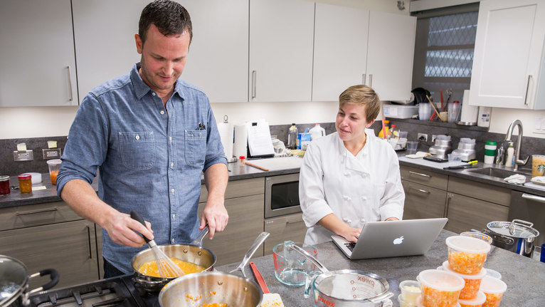 As part of her testing, assistant editor Kate Shannon asked other test  kitchen staffers to evaluate each of the sauciers. Here, executive editor  Tucker Shaw ...