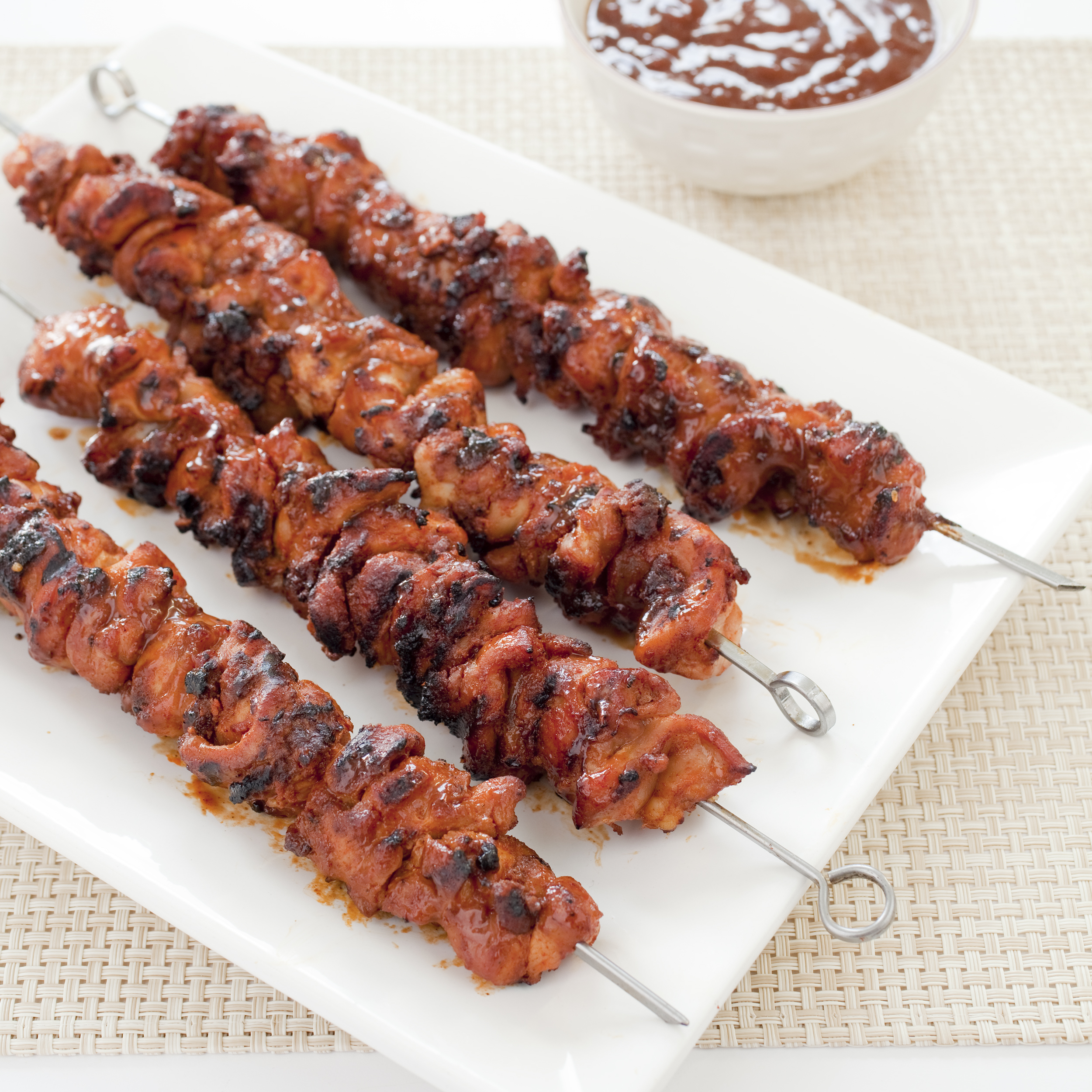 Charcoal Grilled Barbecued Chicken Kebabs America S Test Kitchen