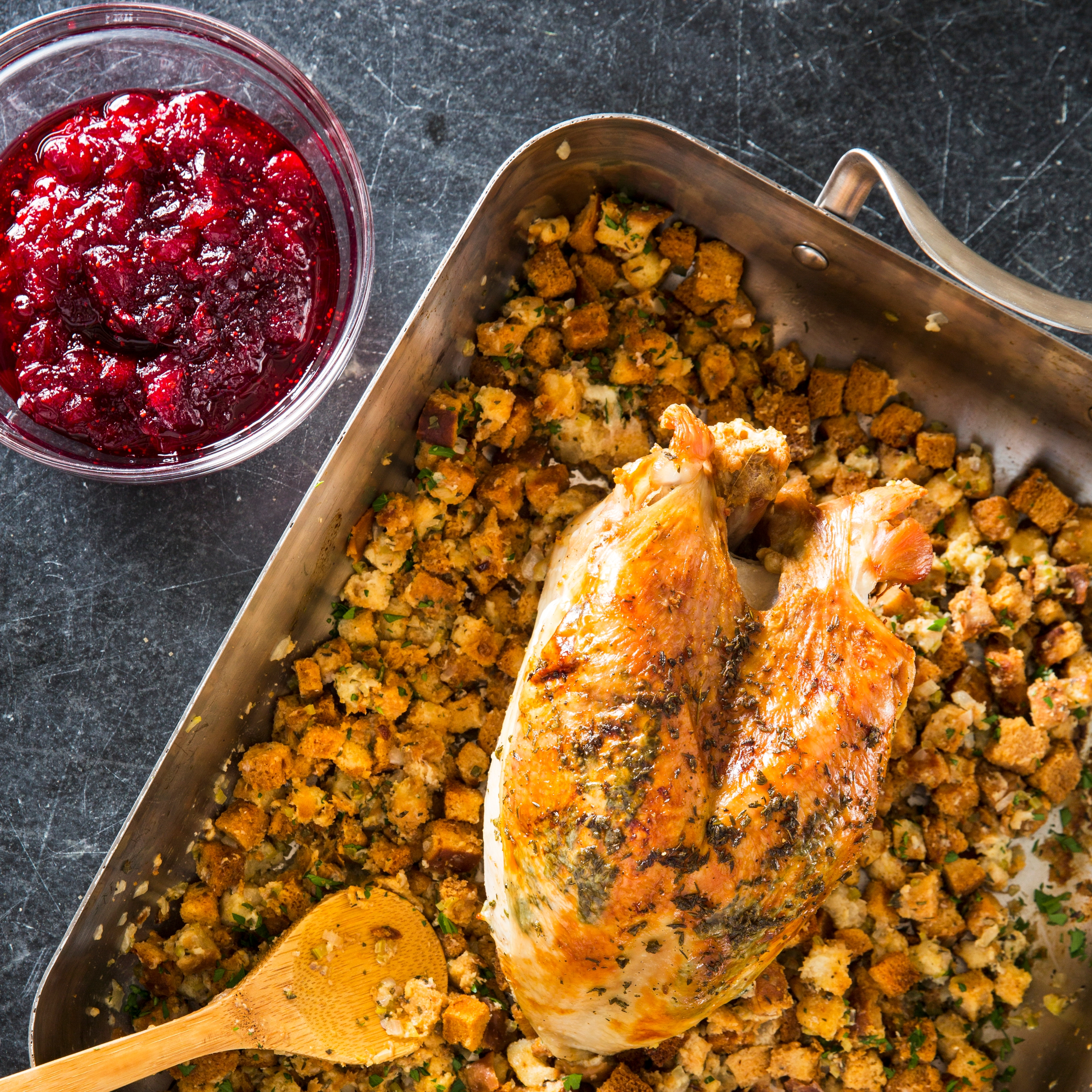One Pan Roast Turkey Breast With Herb Stuffing And Cranberry Sauce America S Test Kitchen