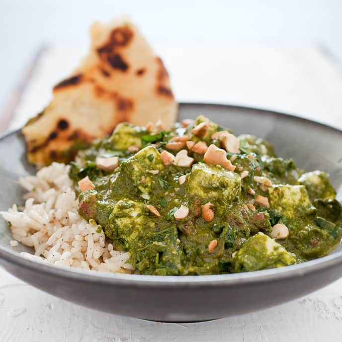 Saag Paneer (Indian-Style Spinach with Fresh Cheese)