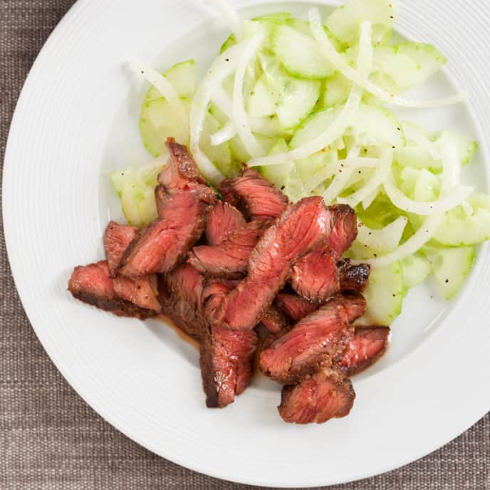Grilled Garlic-Ginger Short Ribs with Cucumber Salad