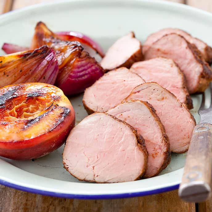Pork Tenderloin with Grilled Peaches and Red Onions