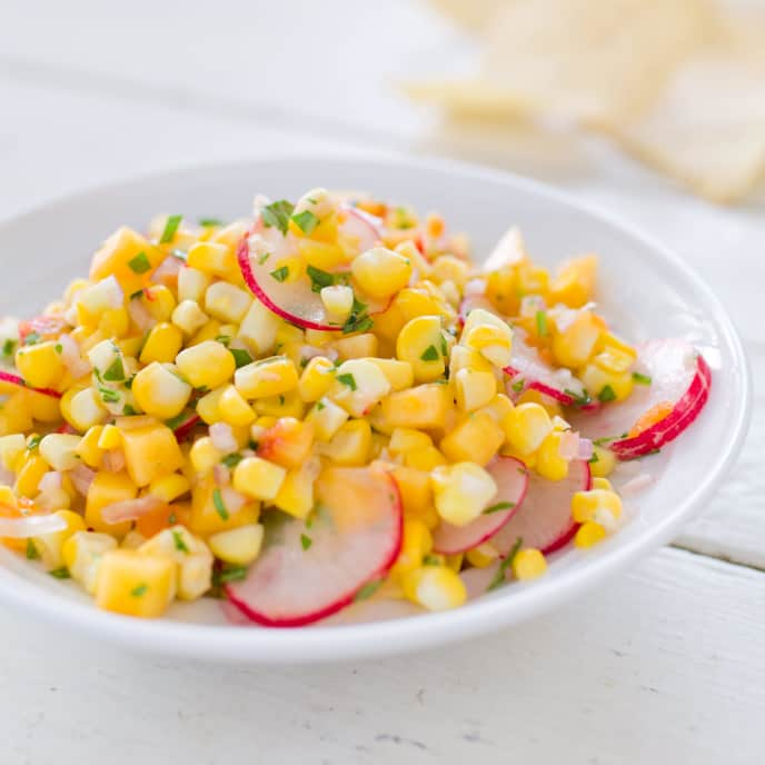Fresh Corn Salsa with Peach and Radishes