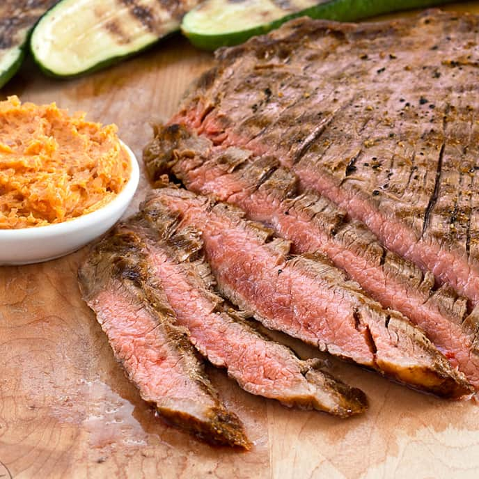 Spicy Grilled Flank Steak with Zuccchini